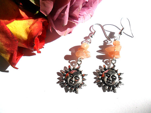 Sunstone Sun Earrings