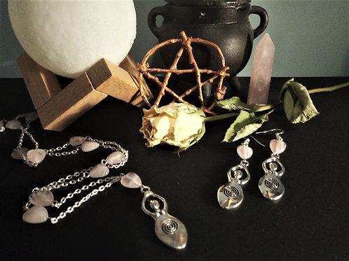Rose Quartz Mother Goddes Jewelry Set