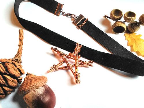 Copper Pentacle Black Velvet Choker
