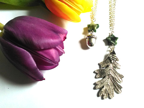 Mother & Daughter Oak Necklace Set