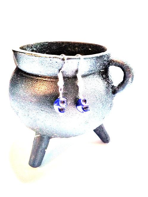 Midnight Blue Howlite Skull Earrings