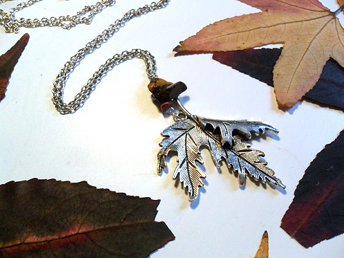 Fall Leaf & Mookaite Necklace