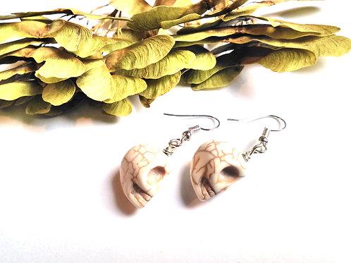 White Howlite Skull Earrings