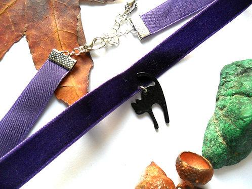 Lucky Black Cat Purple Velvet Choker