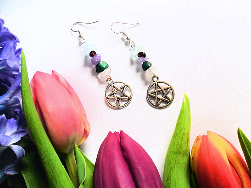 Five Elements Pentacle Earrings