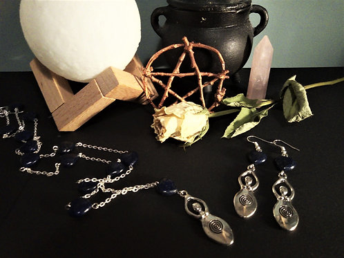Lapis Lazuli Mother Goddes Jewelry Set