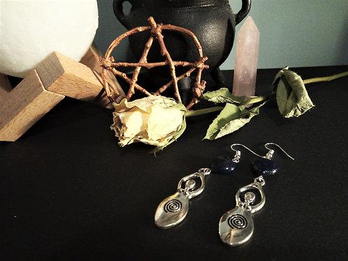 Lapis Lazuli Mother Goddes Earrings