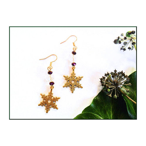 Gold Snowflake Earrings