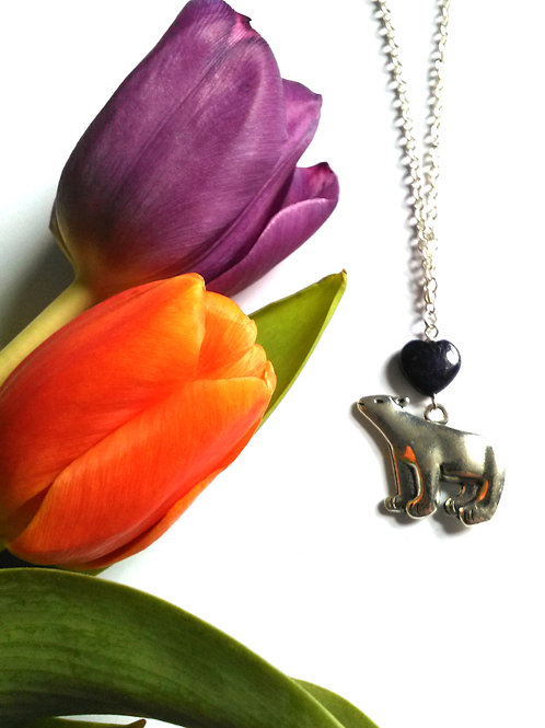 Lapis Lazuli Mama Bear Necklace
