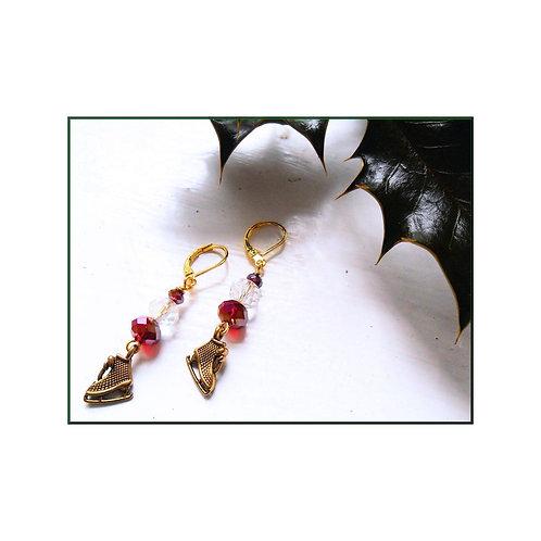 Ice Dancer Gold Christmas Earrings