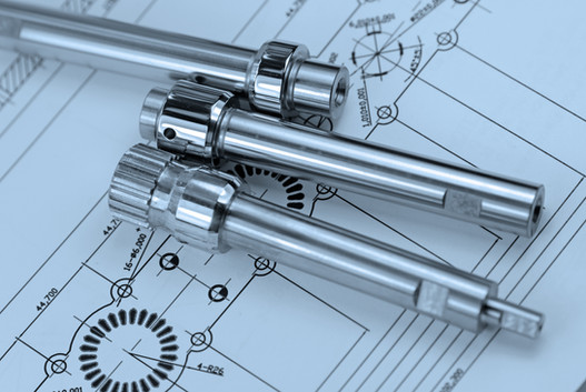 close up shot of mechanical part on  Engineering drawing