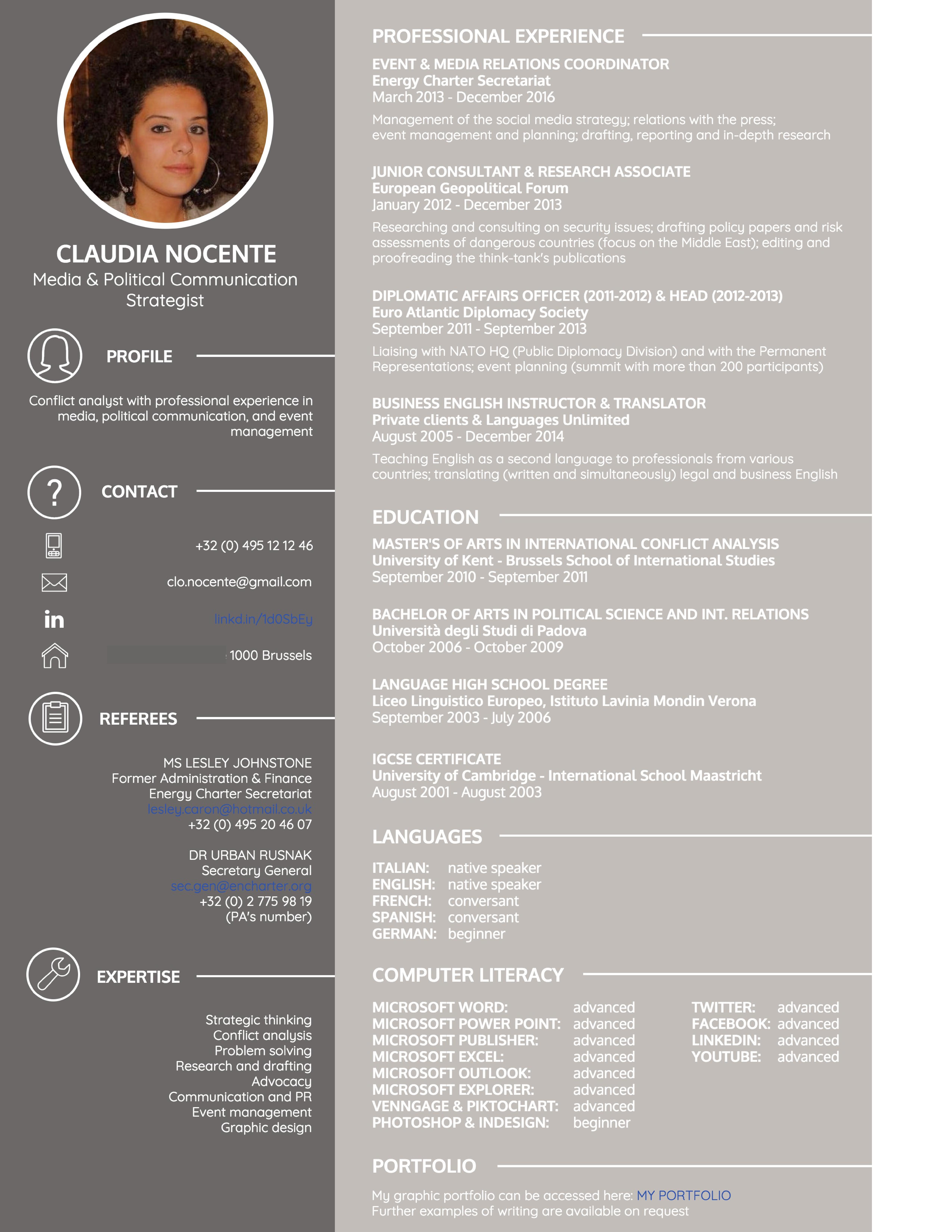 CV example grey