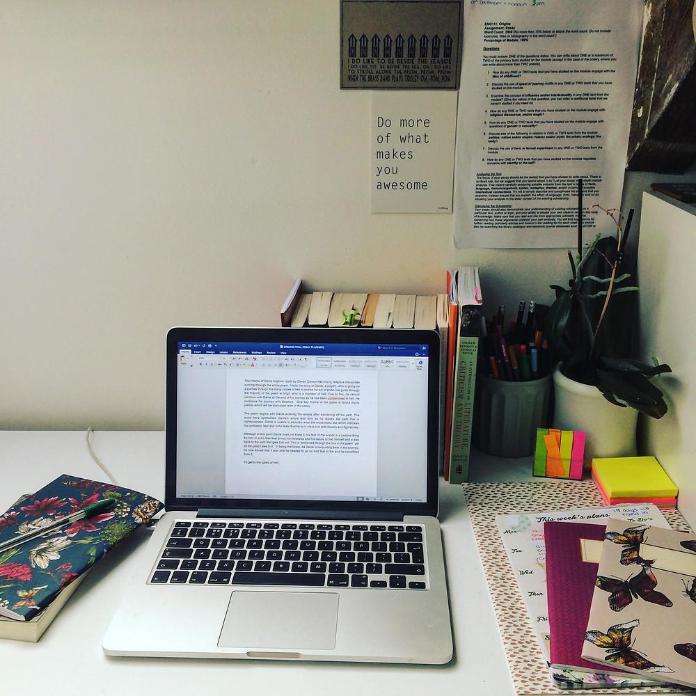 Laptop on a desk, study space