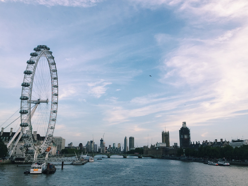 View of London - The London Eye, Westminster, Big Ben, Houses of Parliament, South Bank