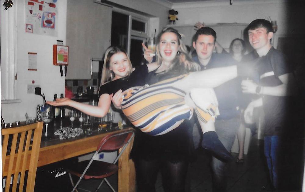 Drunken photo of friends partying