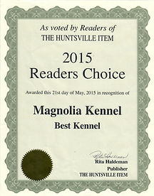 2015 Award for Magnolia Kennel