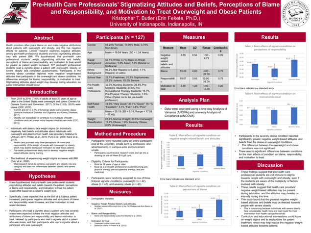 Pre-Health Care Professionals' Stigmatizing Attitudes and Beliefs, Perceptions of Blame and Responsibility, and Motivation to Treat Overweight and Obese Patients