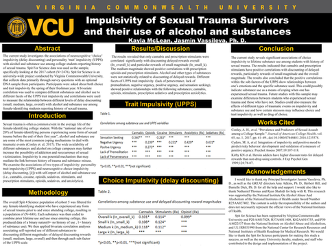 Impulsivity in Sexual Trauma Survivors and their use of alcohol and substances