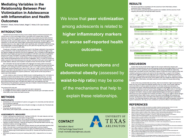 Mediating variables in the Relationship Between Peer Victimization in Adolescence with Inflammation and Health Outcomes