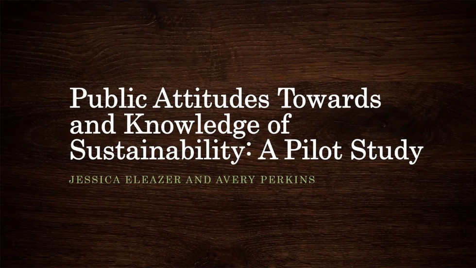 Public Attitudes Towards and Knowledge of Sustainability: A Pilot Study