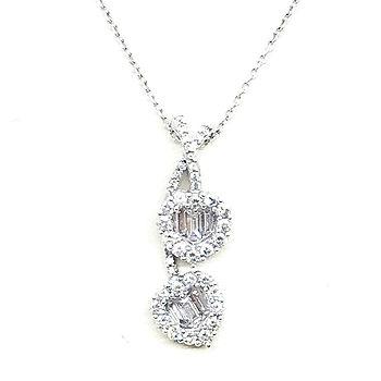 Colgante doble corazón diamantes.