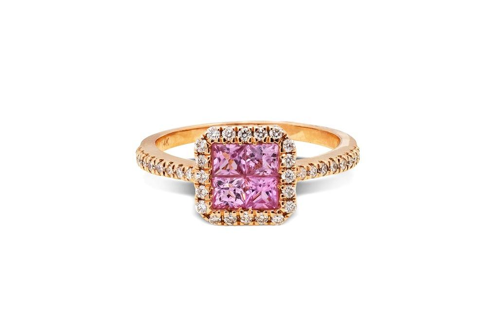 Anillo en oro rosado diamantes y Rosa Francia