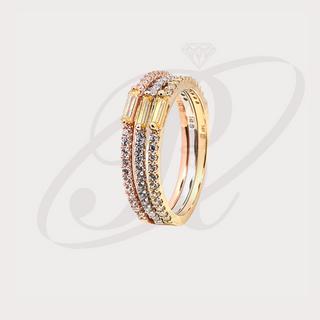 Trio de anillos en oro 14k