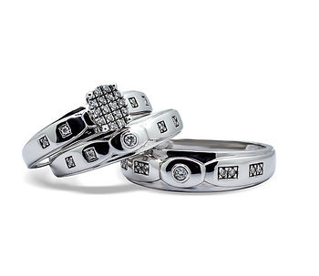 Trio de anillos matrimoniales
