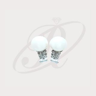 Aretes con perlas y diamantes
