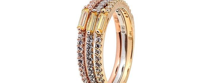 Trio de anillos en tres colores