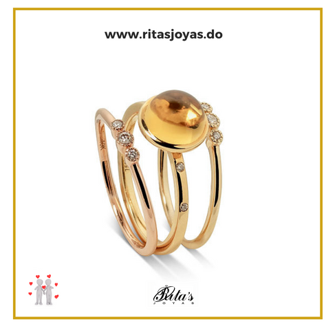 Anillo oro 18k topacio amarillo y diamantes