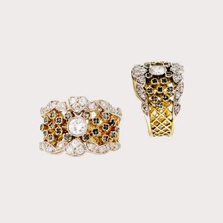 Anillo de diamantes y esmeraldas