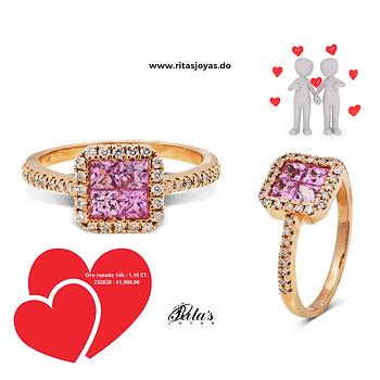 Anillo de compromiso Diamantes piedra central Rosa Francia