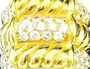 Banda en oro amarillo 18k y diamantes.