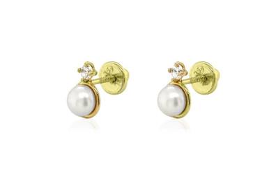 Aretes de perlas y piedras preciosas en oro amarillo de 18 k