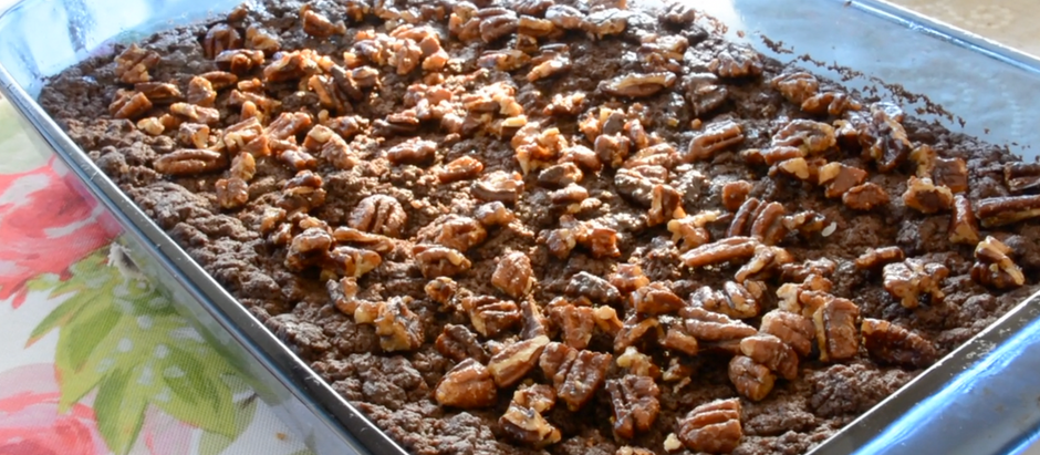 Blissful Peanut Butter Vegan Brownies with Maple Pecans
