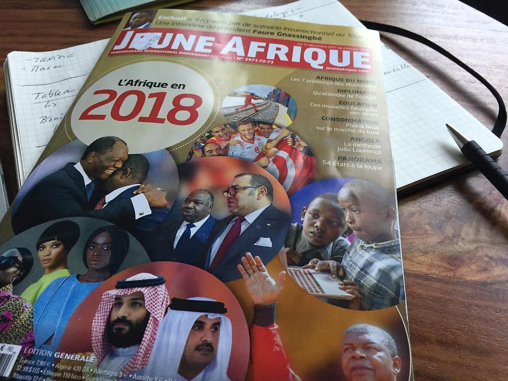 """Couverture du magazine Jeune Afrique """"L'Afrique en 2018"""""""