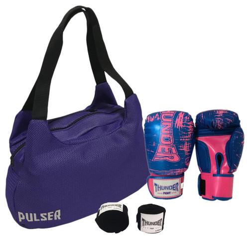 54578b8ac Kit Top Muay Thai Luva 12 Oz - Bolsa Pulser - Thunder Fight