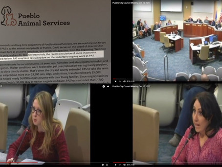 Colorado: Pueblo Animal Services Declines City Council Request to Work with No Kill Advocates, Attac