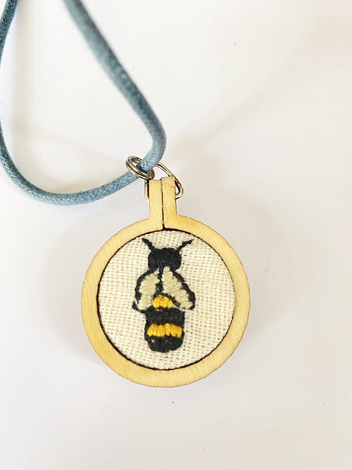 Embroidered Bee Mini Hoop Necklace