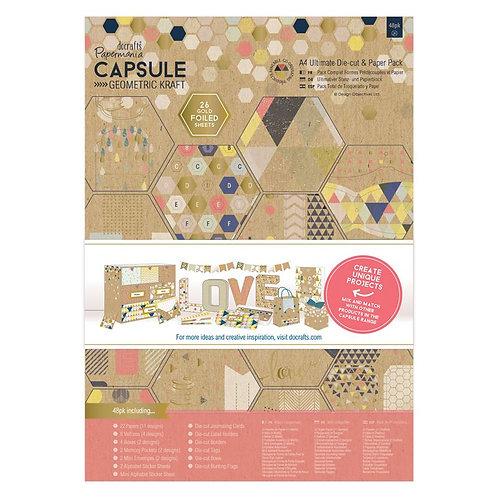 A4 Ultimate Die-cut & Paper Pack - Geometric Kraft