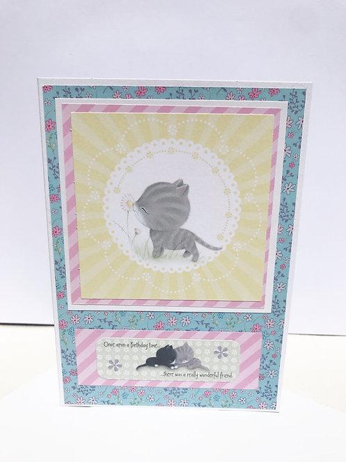 Wonderful Friend Grey Kitten Birthday Card