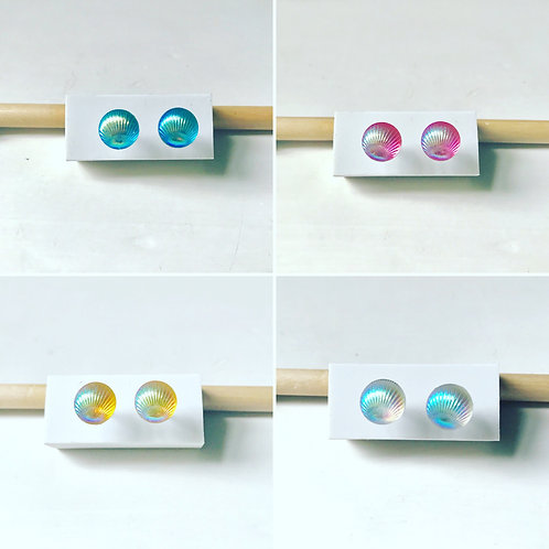 Iridescent Seashell Stud Earrings