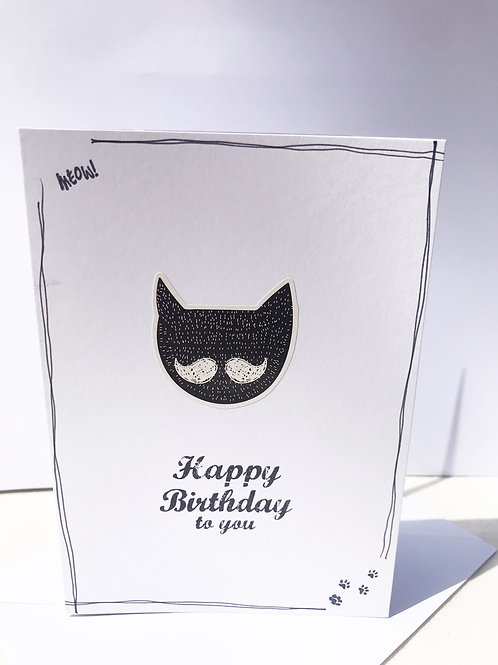 Happy Birthday Card - Moustachioed Cat