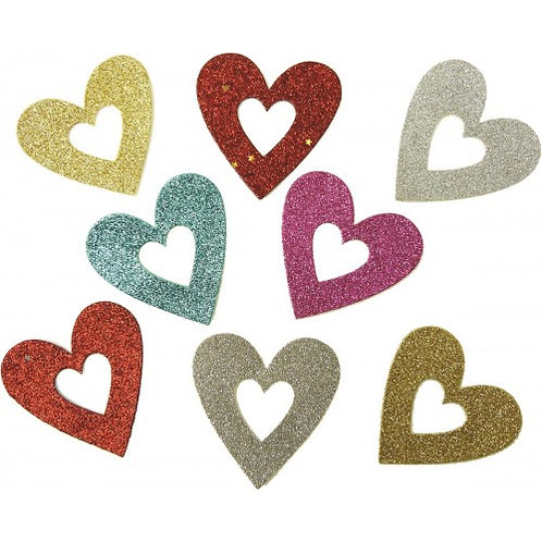 Paper Cellar - Glitter Heart Embellishments