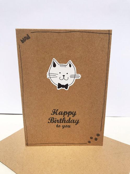 Happy Birthday Card - Bow Cat