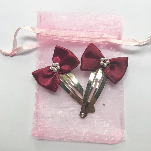 Deep Red Ribbon Hair Clips