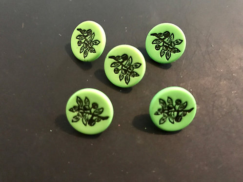 Green buttons with leaf design