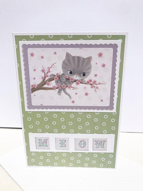 Grey Cat Cherry Blossom Card