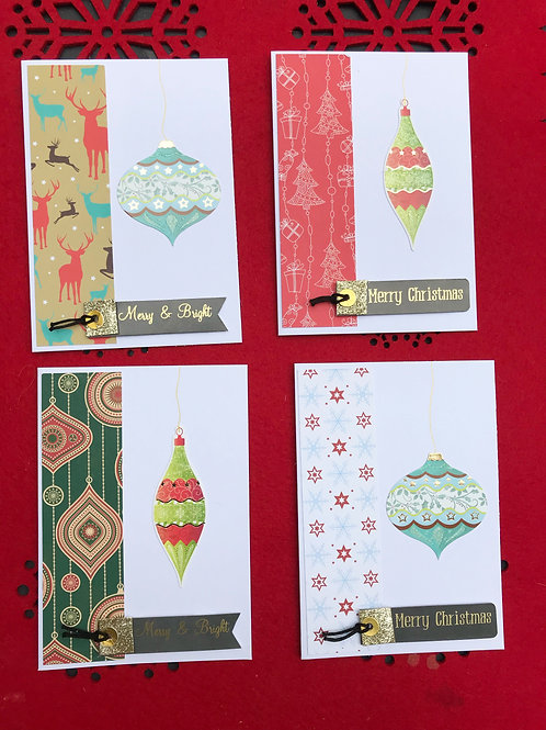 Bauble Christmas Cards (Pack of 4)